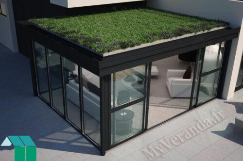 Véranda à toiture végétalisée par Grandeur Nature
